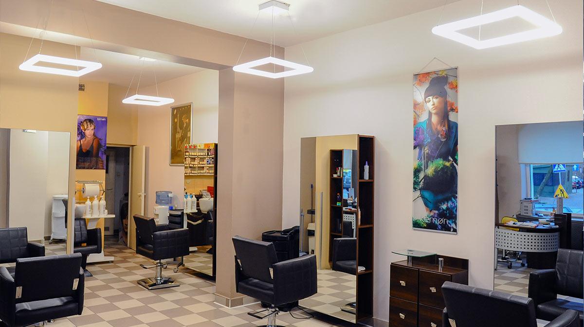LumoTubo zaklad fryzjerski wnętrze
